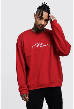 Sweat rouge oversize MAN Signature, Homme
