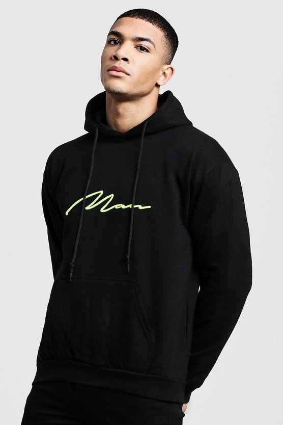 Black Neon Yellow 3D MAN Signature Hoodie