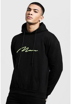 Mens Black Neon Yellow 3D MAN Signature Hoodie