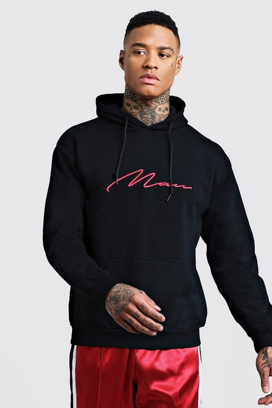 Red 3D MAN Signature Embroidered Hoodie