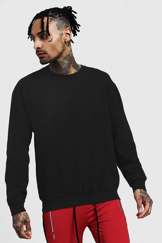 Black 3D MAN Signature Embroidered Sweater