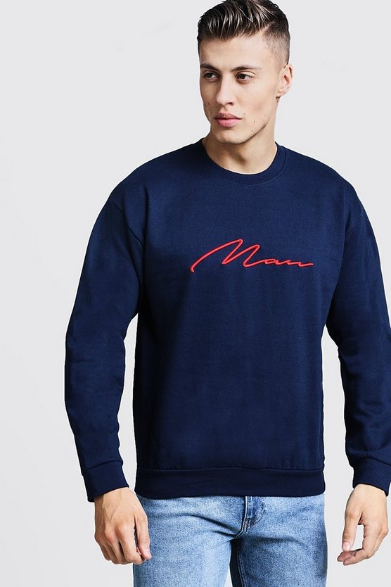 Sweat brodé 3D MAN Signature, Marine, Homme