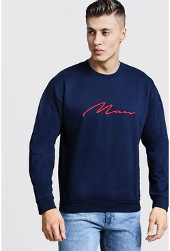 Mens Navy 3D MAN Signature Embroidered Sweater