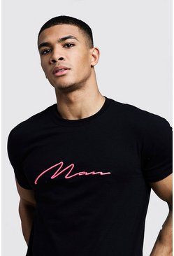 Mens Black Neon Pink 3D MAN Embroidered T-Shirt