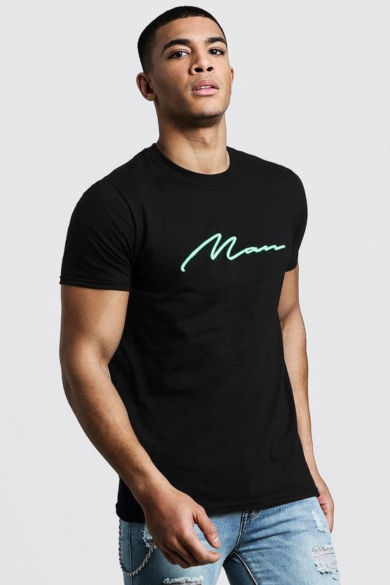 Neon Green 3D MAN Embroidered T-Shirt