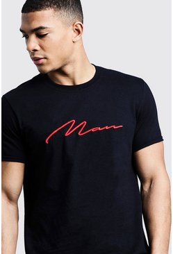 Herr Black Red 3D MAN Signature Embroidered T-Shirt