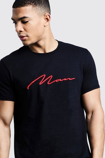 Black Red 3D MAN Signature Embroidered T-Shirt
