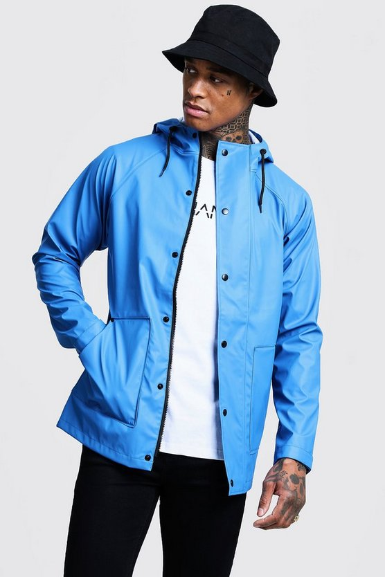 Mens Cobalt Rubberised Rain Mac