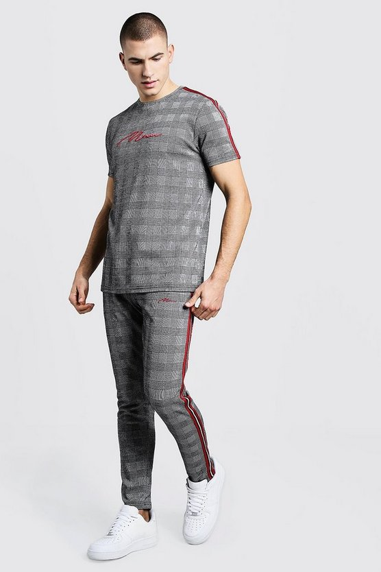 MAN Signature Check Jacquard T-Shirt Tracksuit