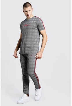MAN Signature Check Jacquard T-Shirt Tracksuit, Grey, МУЖСКОЕ