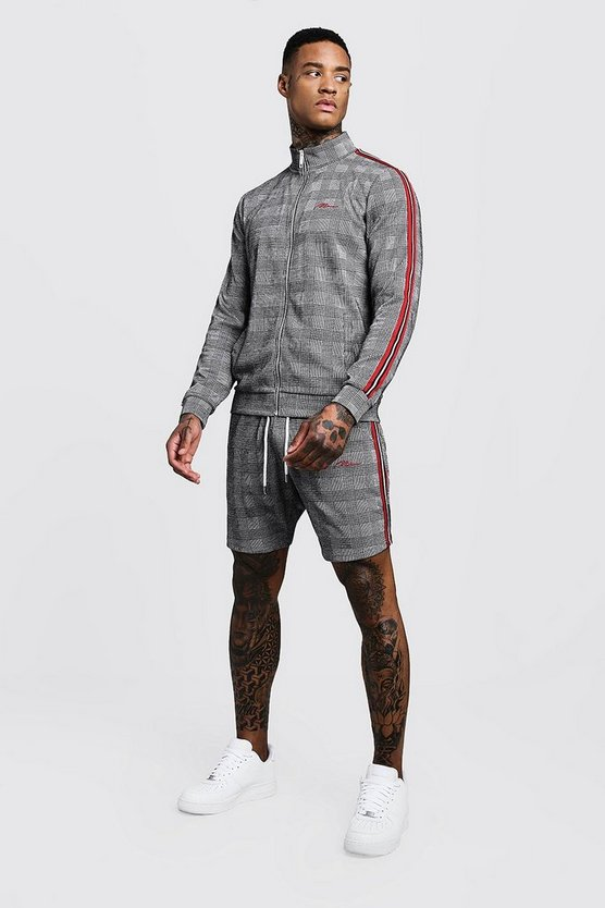 MAN Signature Check Funnel Neck Short Tracksuit, Grey, МУЖСКОЕ