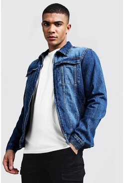 Mens Mid blue Zip Thru Denim Jacket
