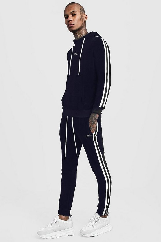 Velour Hooded MAN Tracksuit With Side Tape, Navy, МУЖСКОЕ