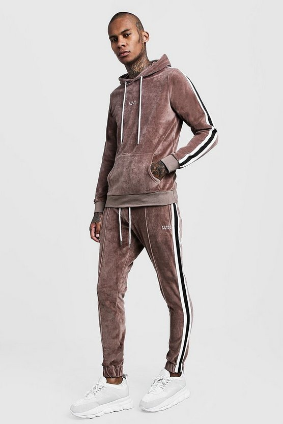 Mens Taupe Velour Hooded MAN Tracksuit With Side Tape