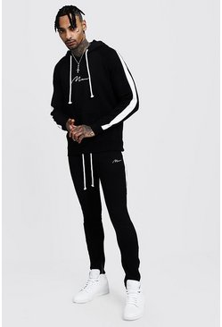 Mens Black MAN Hooded Tracksuit With Side Panels