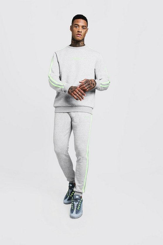 Mens Grey MAN Signature Sweater Tracksuit With Tape