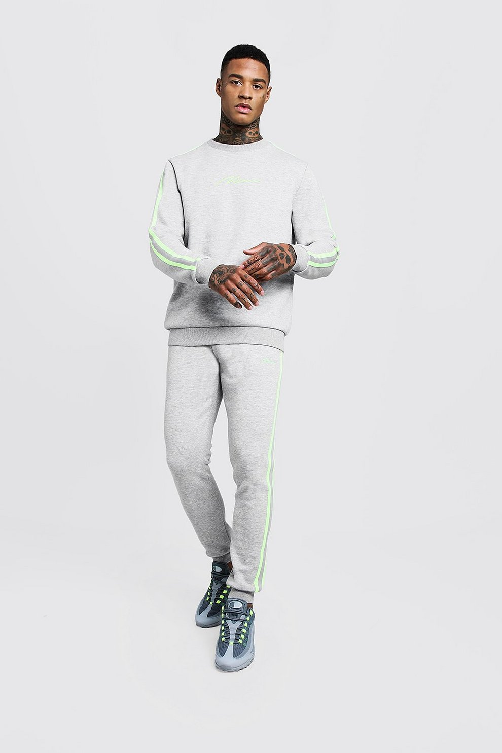 e76949062e53d Mens Grey MAN Signature Sweater Tracksuit With Tape
