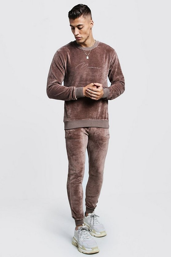 Mens Taupe MAN Signature Velour Sweater Tracksuit
