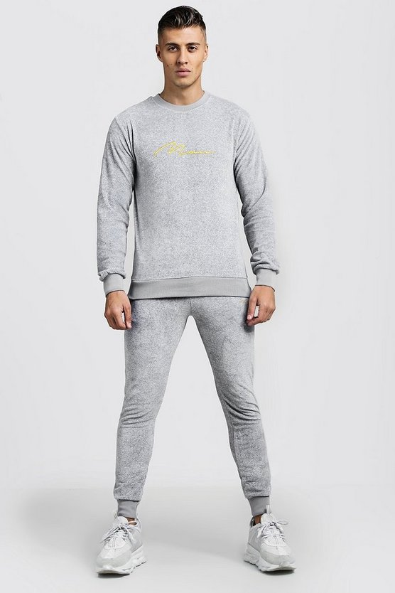Grey MAN Signature Velour Sweater Tracksuit