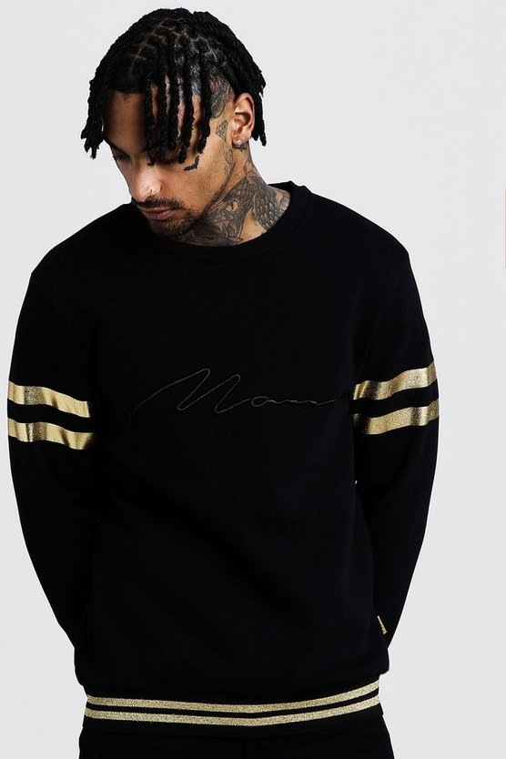 Mens Black MAN Embroidered Sweat With Gold Rib