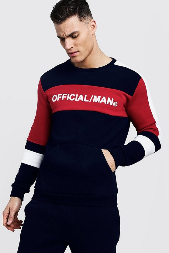 Mens Navy Colour Block MAN Official Sweater