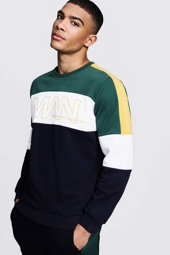 Mens Navy Colour Block Panelled MAN Puff Print Sweater