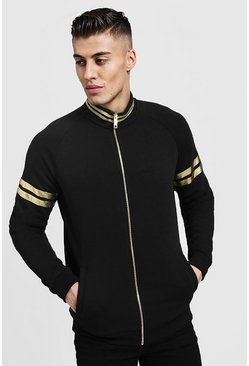Mens Black MAN Gold Zip Funnel Neck Top With Rib