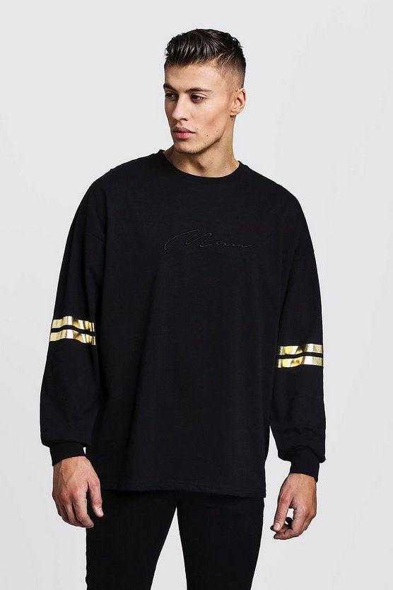 Mens Black Gold MAN Oversized Long Sleeve T-Shirt With Foil