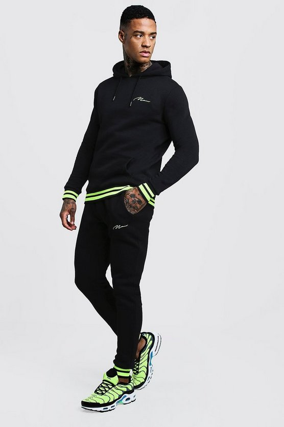 Mens Black MAN Signature Hooded Tracksuit With Neon Rib