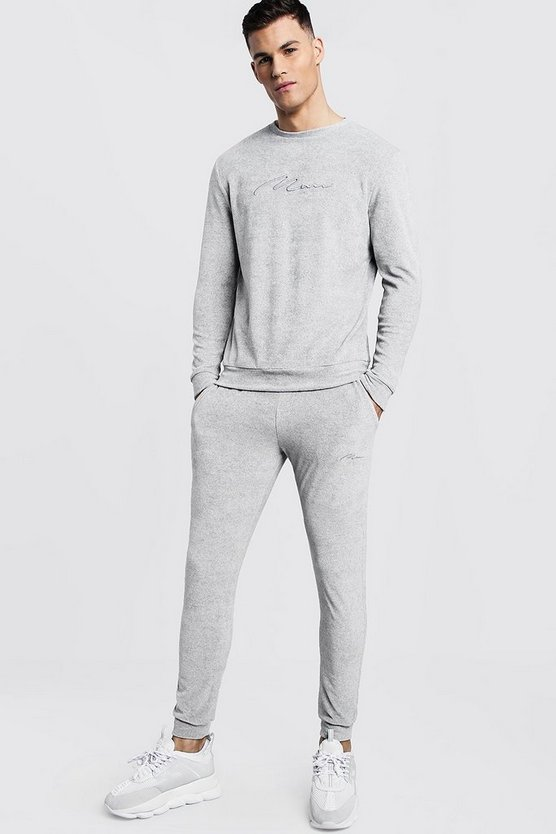 MAN Signature Velour Sweater Tracksuit