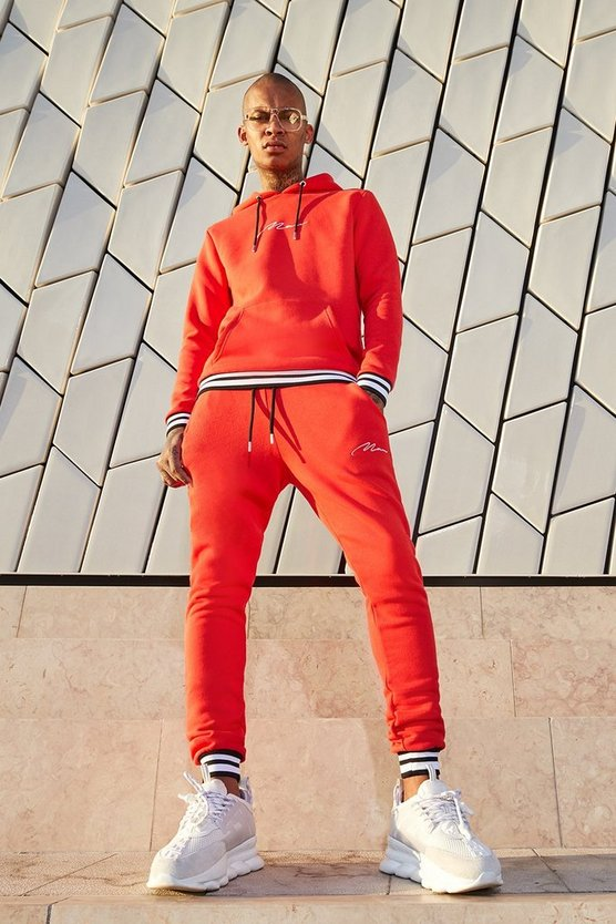 Mens Orange MAN Signature Hooded Tracksuit With Contrast Rib