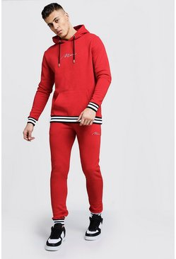 Mens Red MAN Signature Hooded Tracksuit With Contrast Rib