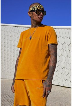 Mens Mustard Velour MAN Signature T-Shirt & Short Set