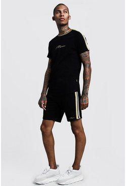 Mens Black Gold MAN Tee & Short Set With Side Tape