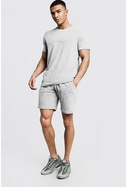 Mens Grey Velour MAN Signature T-Shirt & Short Set