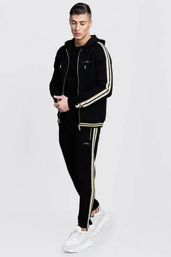 Mens Black Gold MAN Zip Hooded Tracksuit With Tape
