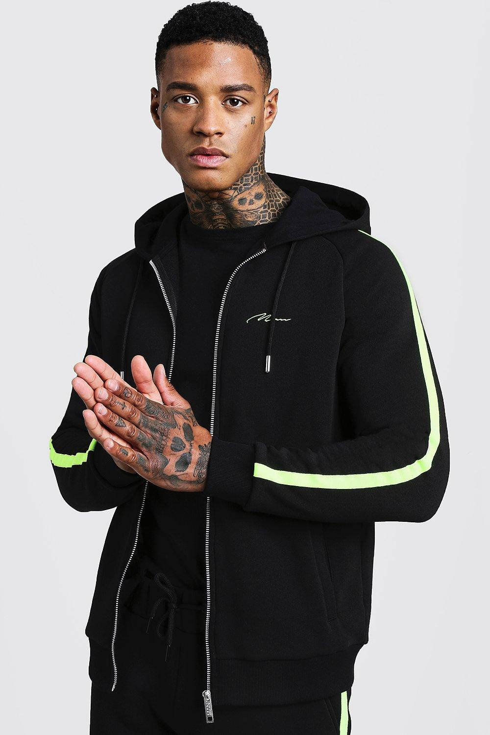 MAN Signature Zip Through Hoodie With Neon Tape