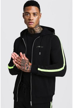 Mens Black MAN Signature Zip Through Hoodie With Neon Tape