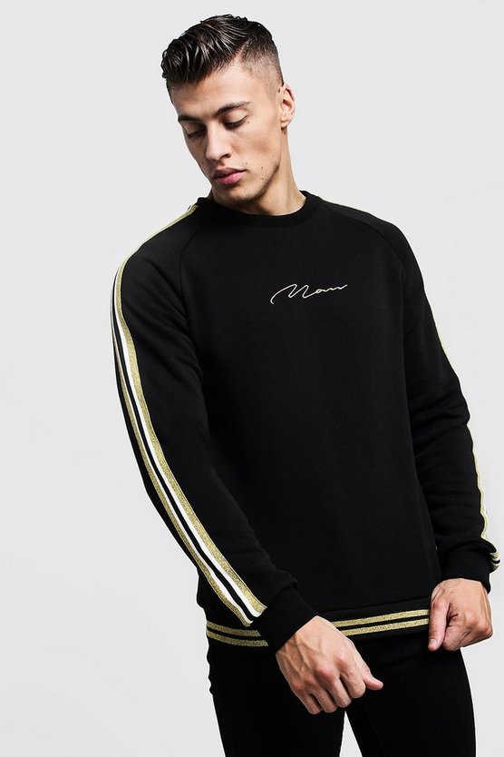 Gold MAN Signature Tape Sweater, Black, МУЖСКОЕ