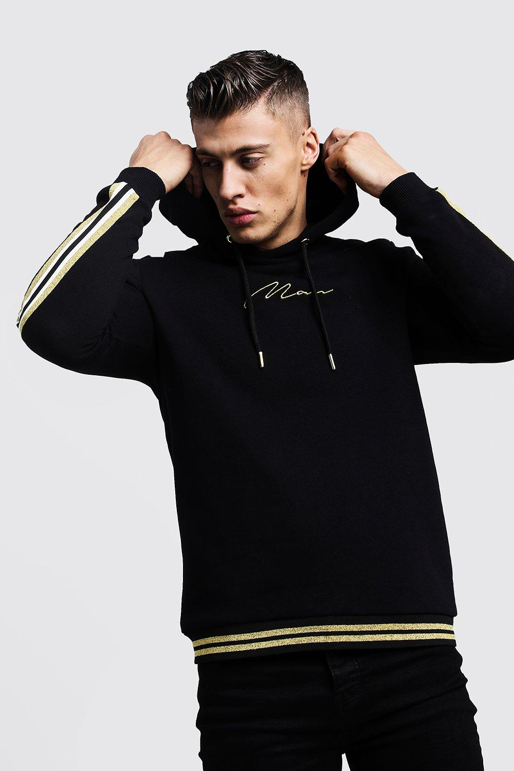 Gold MAN Signature Tape Hoodie With Rib