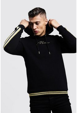 Mens Black Gold MAN Signature Tape Hoodie With Rib