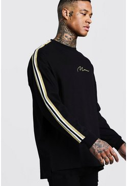 Mens Black Gold MAN Oversized Long Sleeve T-Shirt