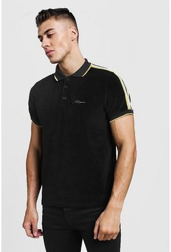 Mens Black Gold MAN Velour Polo With Tape Detail