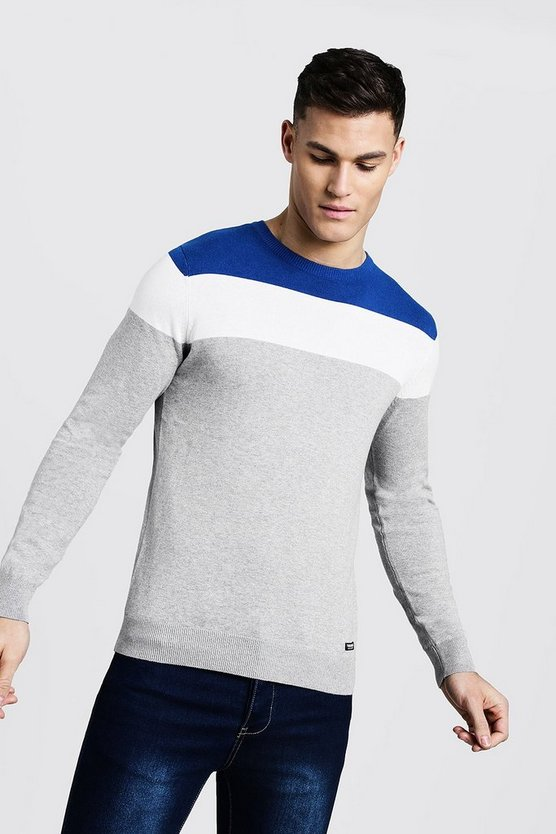 Mens Blue Colour Block Muscle Fit Jumper