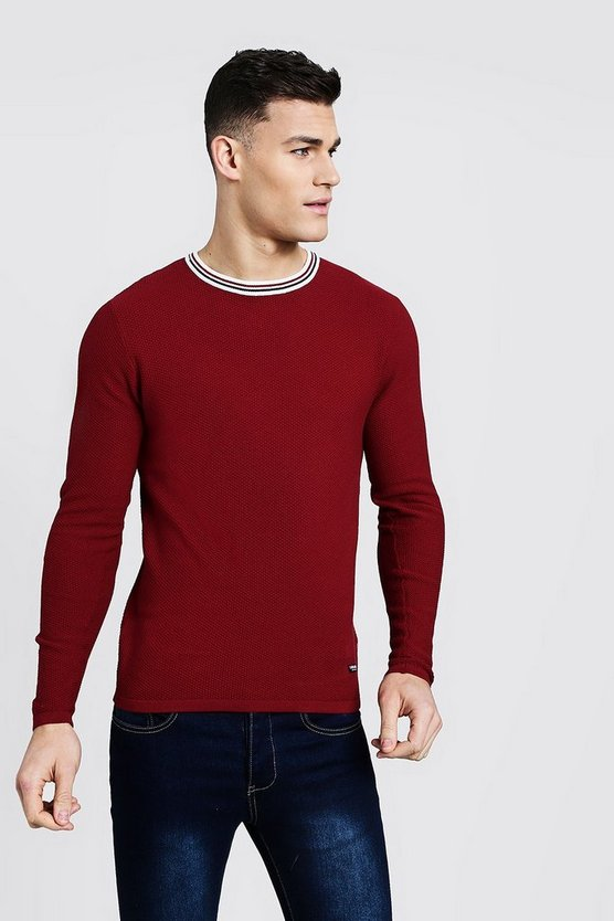 Mens Red Textured Knitted Sweater With Striped Rib