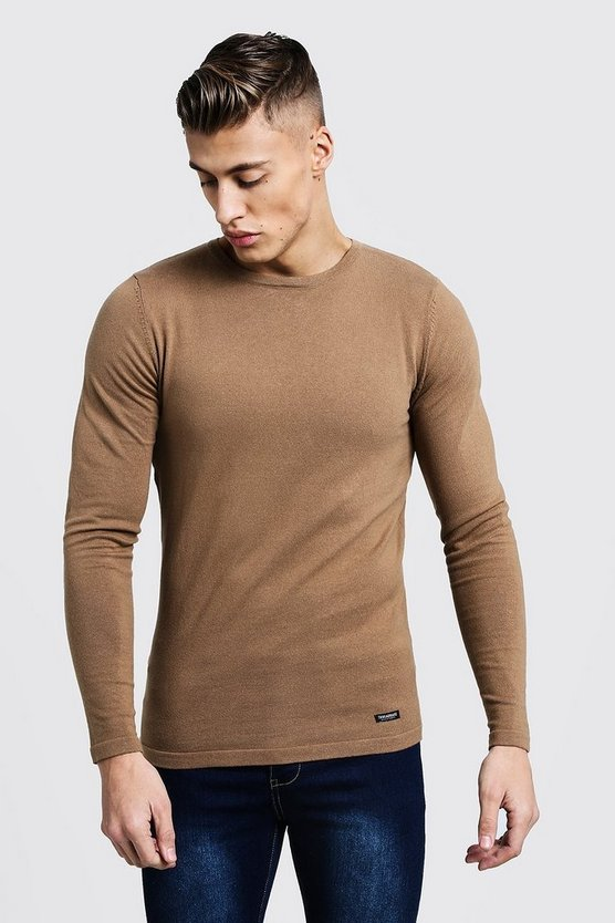 Mens Camel Muscle Fit Knitted Jumper