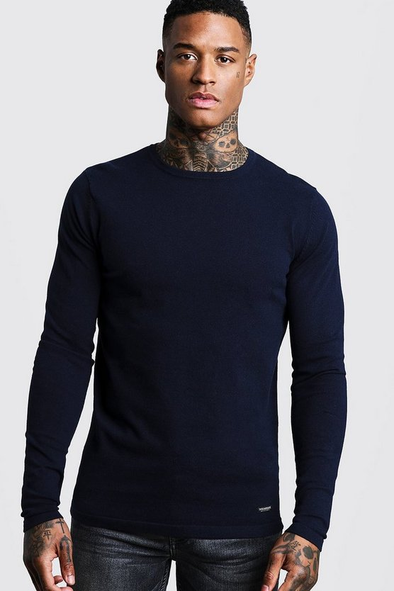Mens Navy Muscle Fit Knitted Jumper