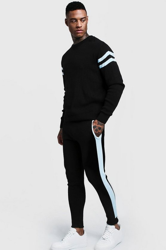 Mens Knitted Sweater Tracksuit With Side Panel