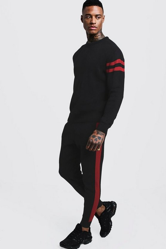 Mens Red Knitted Sweater Tracksuit With Side Panel