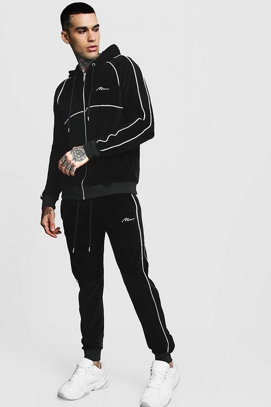 Velour Zip Hooded MAN Tracksuit With Piping, Black, МУЖСКОЕ